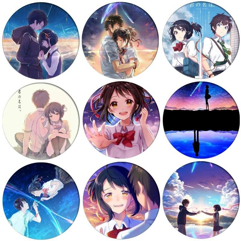 1pcs Kimi No Na Wa Your Name Cosplay Badge Tachibana Taki Brooch Pin Miyamizu Mitsuha Cute Collection Badge For Backpack Clothes