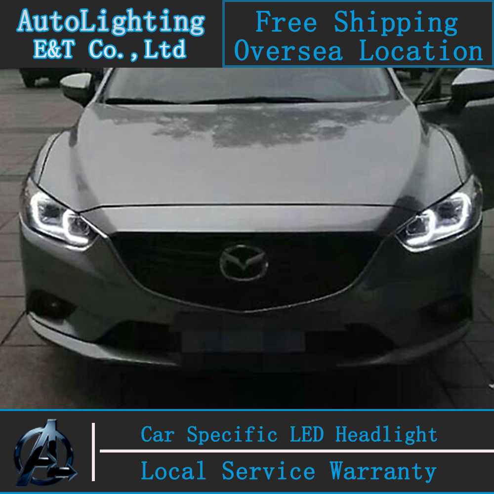 Car styling Head Lamp for Mazda 6 led headlight assembly 2014-2015 New Mazda6 Angel eye led drl H7 with hid kit 2 pcs. headlamp polishing paste kit diy headlight restoration for car head lamp lense deep clean compuesto pulidor uv protective liquid