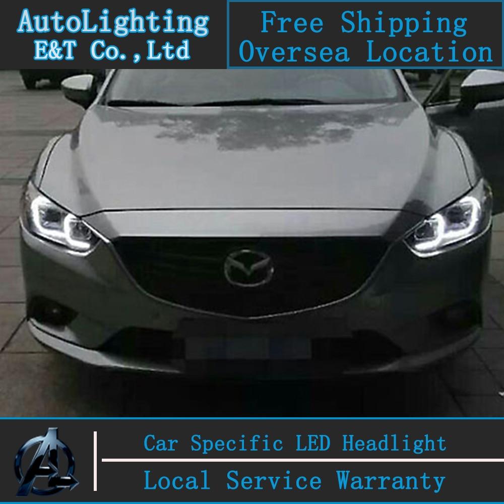 Car styling Head Lamp for Mazda 6 led headlights 2014-2015 New Mazda6 Angel eye led drl H7 hid Bi-Xenon Lens low beam  car styling led head lamp for ford kuga led headlights 2014 taiwan escape angel eye drl h7 hid bi xenon lens low beam