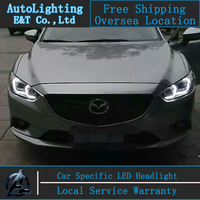 Car Styling Head Lamp For Mazda 6 Led Headlights 2014 2015 New Mazda6 Angel Eye Led