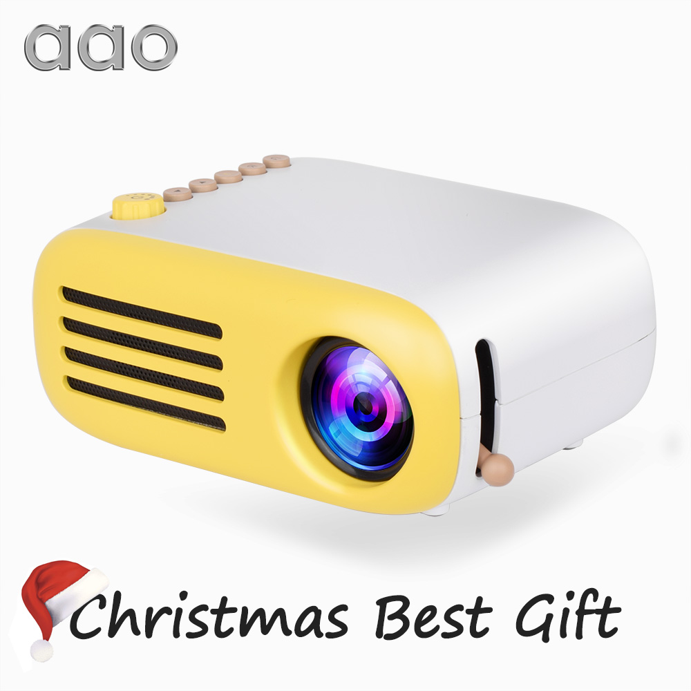 AAO YG200 Portable LED Pocket Mini Projector AV USB SD HDMI Video Movie Game Home Party Theater Video Projector Optional Battery