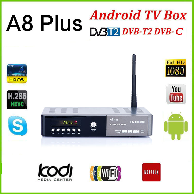 A8 plus DVB-S2 DVB-T2 S2 Android Smart TV Box HD Satellite TV Receiver PowerVu Biss key Cccam Wifi Media player iptv pvr de it es channels dvb s s2 satellite fta lines 1 year cccam clines newcamd usb wifi satellite tv receiver for free shipping