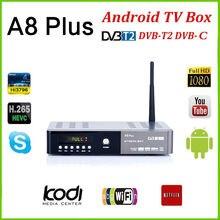 A8 plus DVB-S2 DVB-T2 S2 Android Smart TV Box HD Satellite TV Receiver PowerVu Biss schlüssel Cccam Wifi Media player iptv pvr