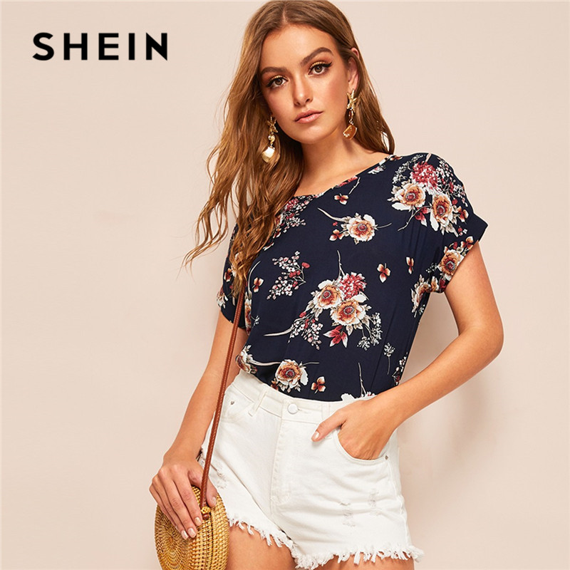 SHEIN Lady Casual Navy V Neck Floral Blouse Women Summer Roll Up Sleeve Curve Hem Streetwear Short Sleeve Blouses Ladies Tops