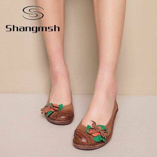 Цветок Печати Плоские Женщин Обувь Из Натуральной Кожи беременные Квартиры Мода Повседневная Мягкие Мокасины Мокасины Женские Вождения Обуви
