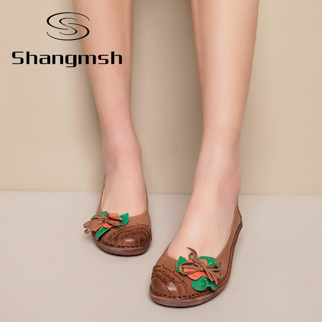 Flower Print Flat Shoes Women Genuine Leather pregnant Flats Fashion Casual Soft Loafers Moccasins Female Driving Shoe