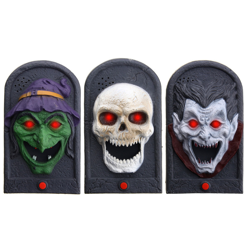 Safuance Halloween Doorbell Luminous Sound Plastic Trick Witch Skull V ampire Prop цена