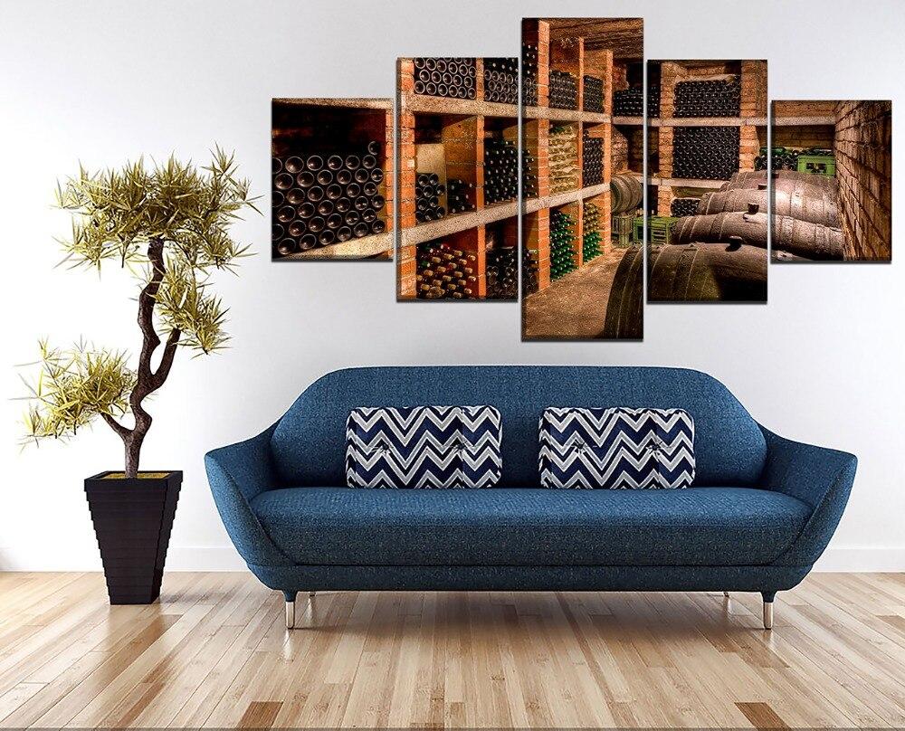 5 шт./компл. холст печатания Водонепроницаемый Pictures Home красное вино бутылки дубовой бочки винный погреб Картины для Гостиная без рамы