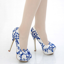 Blue White Porcelain Pumps Cheongsam Wedding Leather High Heel Shoes Girl Party Sexy Flower Dress Platform