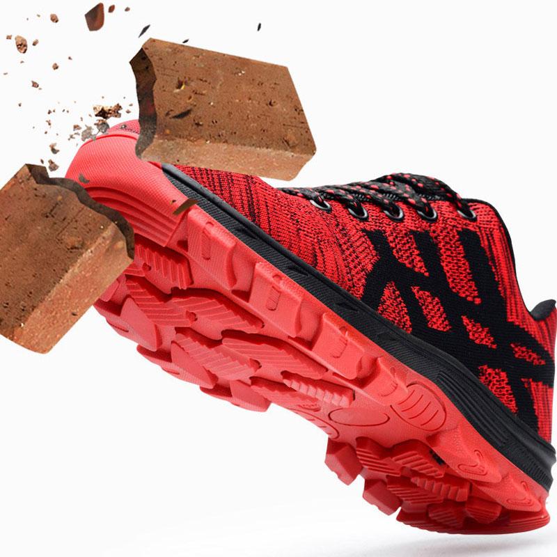 Com red Black Aço De Voadores Biqueira Backcamel Segurança Esmagar Sapatos resistente Trabalho Calçado Tecido Respirável Stab Homens Botas Do Leves prova HSqwfIRR