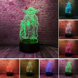 Звездные Войны Йода модель Juguetes 3D иллюзия светодиодный светильник Красочный ночник светится в темноте ночник Мастер Йода экшн и игрушки Фи...