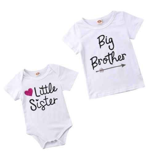 e013f4638a5 Kids Baby  Little Sister Short Sleeve Bodysuit Big Brother Cotton T-shirt  Tee Summer