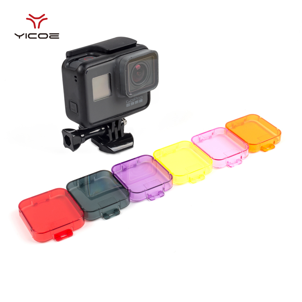 Galleria fotografica Lens Filter Lens Colorful Underwater Sea Diving Cover Cap Hood for Go pro Hero 6 5 Gopro Hero 6 5 Action Camera Accessories Kit