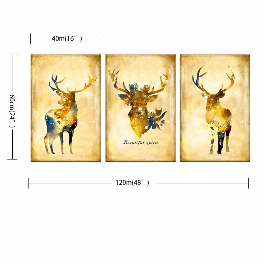 3 Pieces Canvas Art Paintings Printed Nordic elk style Wall Art ...
