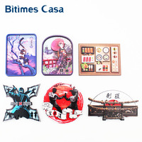 Bitimes Japan Culture Refrigerator Fridge Magnets 3D MDF Karate Ninja Kendo Geisha Girl Exotic Japanese Girl Travel Souvenir