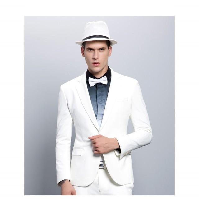 Moda Hombre Blanco Trajes Muesca Solapa Un Botón Esmoquin Padrino de Boda de Los Hombres Trajes de Novio Desgaste