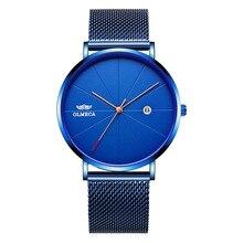 49ef10738 2019 رجل الساعات العلامة التجارية الأعلى الفاخرة ساعة كوارتز رقيقة جدا الحد  الأدنى الساعات للرجال الكلاسيكية للماء الأزرق جنيف س.