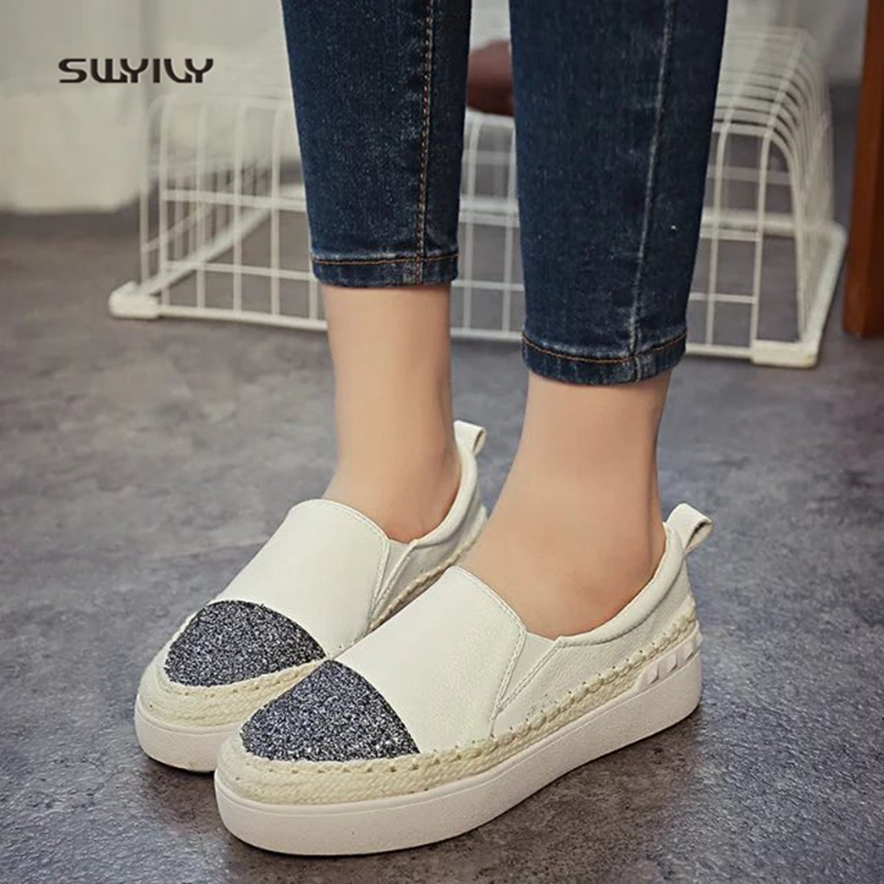 SWYIVY Women s Canvas Shoes Sneakers Hemp Sole 2018 Spring Female Casual  Slip On Lazy Shoes Platform Loafers Women s Sneakers -in Women s Vulcanize  Shoes ... dc882c9a3162