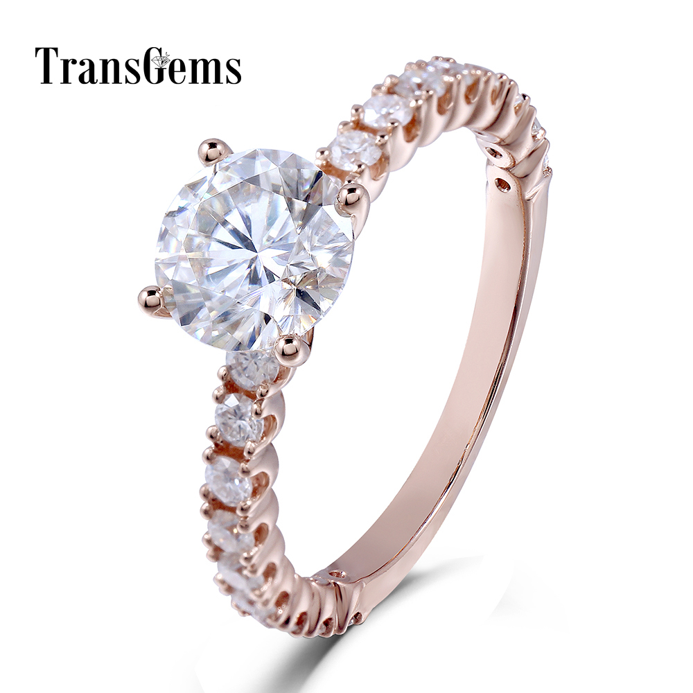Transgems 18K 750 Rose Gold Moissanite 6.5MM 1CT F Color Engagement Ring for Women with Accents on the Band genuine 18k 750 rose gold 1ct hearts arrows test positive lab grown moissanite diamond engagement pendant necklace chain women