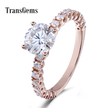 Transgems 18K 750 Rose Gold Moissanite 6.5MM 1CT F Color Engagement Ring for Women with Accents on the Band недорого