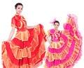Saia flamenco dança popular Chinesa traje para as mulheres traje de dança Flamenco expansão Dança vestido de saia de tule com headress