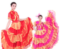 flamenco skirt Chinese folk dance costume for women Flamenco dance costume Dance expansion skirt tulle dress  with headress