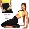 Calça + Cinto de Neoprene Super Estiramento Shapers Capri sweatpants Calças conjunto Espartilhos Cintura Anti Celulite Emagrecimento Terno das Mulheres