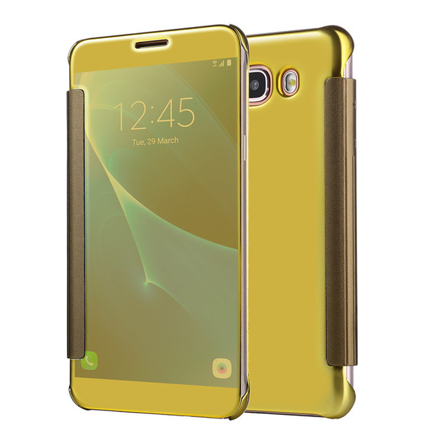 quality design 59eb6 52e36 US $4.13 10% OFF|Luxury J2 Prime Clear View Mirror Flip Case For Samsung  Galaxy J5 Prime J7 Prime Chrome Cover -in Flip Cases from Cellphones & ...