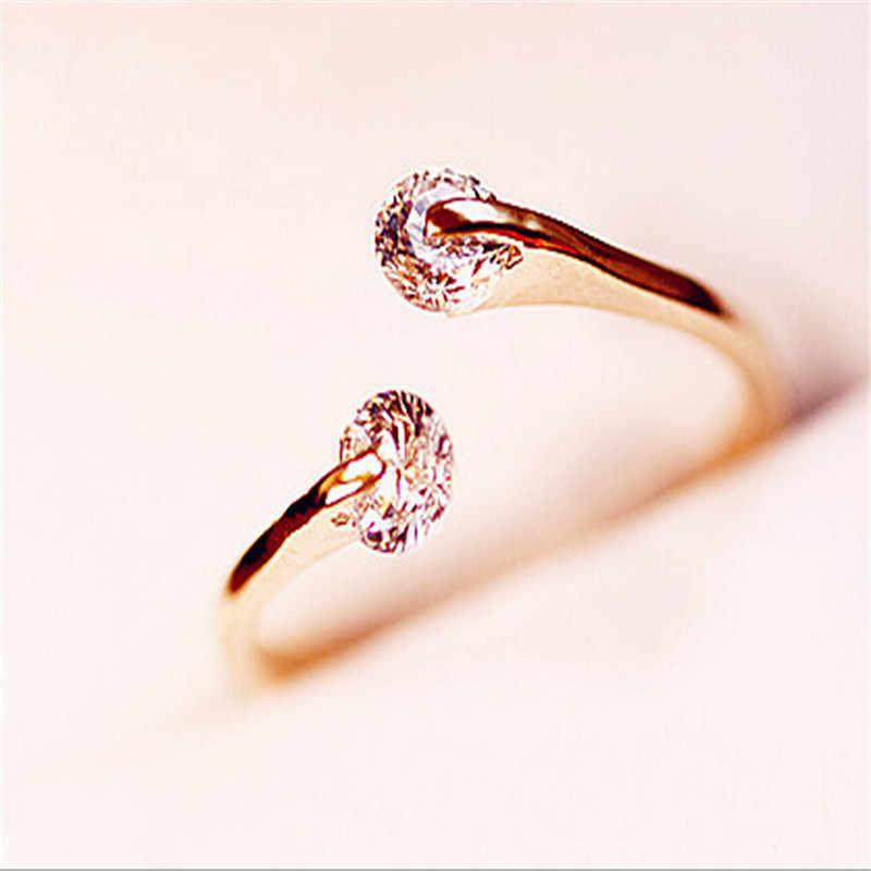 Charming แหวนทองหญิง Anillos Twin Shine Zircon แหวนผู้หญิง Anel หมั้นเครื่องประดับ