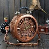 New Round Shape Bag Novelty True Alarm Unique Nobel Time Machine Vintage Workable Amliya Clock Handbag Use True Pin Up Retro