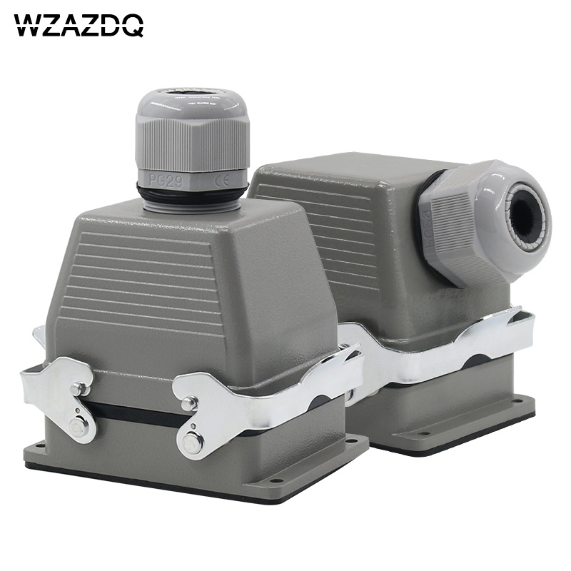 Rectangular heavy-duty connector HE-032 core industrial waterproof aviation plug socket outlet line or side outlet 16A 500V AZDQ heavy duty connectors hdc he 024 1 f m 24pin industrial rectangular aviation connector plug 16a 500v