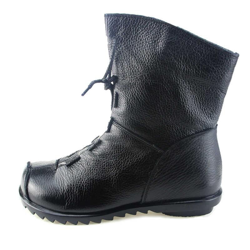 SNURULAN 2017 Phụ Nữ Đôi Giày Vintage Phong Cách Genuine Leather Phụ Nữ Khởi Động Phẳng Booties Phụ Nữ Mềm Mại của Giày Bốt Mắt Cá Chân gót ẩn