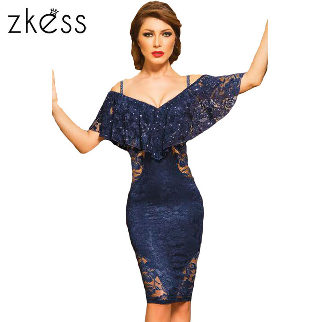 V-Neck Navy Lace Dress