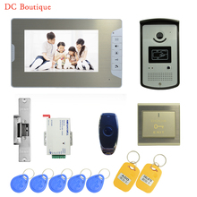 (1 set) 7 Inch Video Door Phone Door Bell Intercom Color Monitor Access Control Exit button Remote Unlock RFID key fob