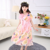 Bohemian Style Baby Girl Summer Dress With Shawl Print Butterfly Rose Long Dresses For Kids Girls