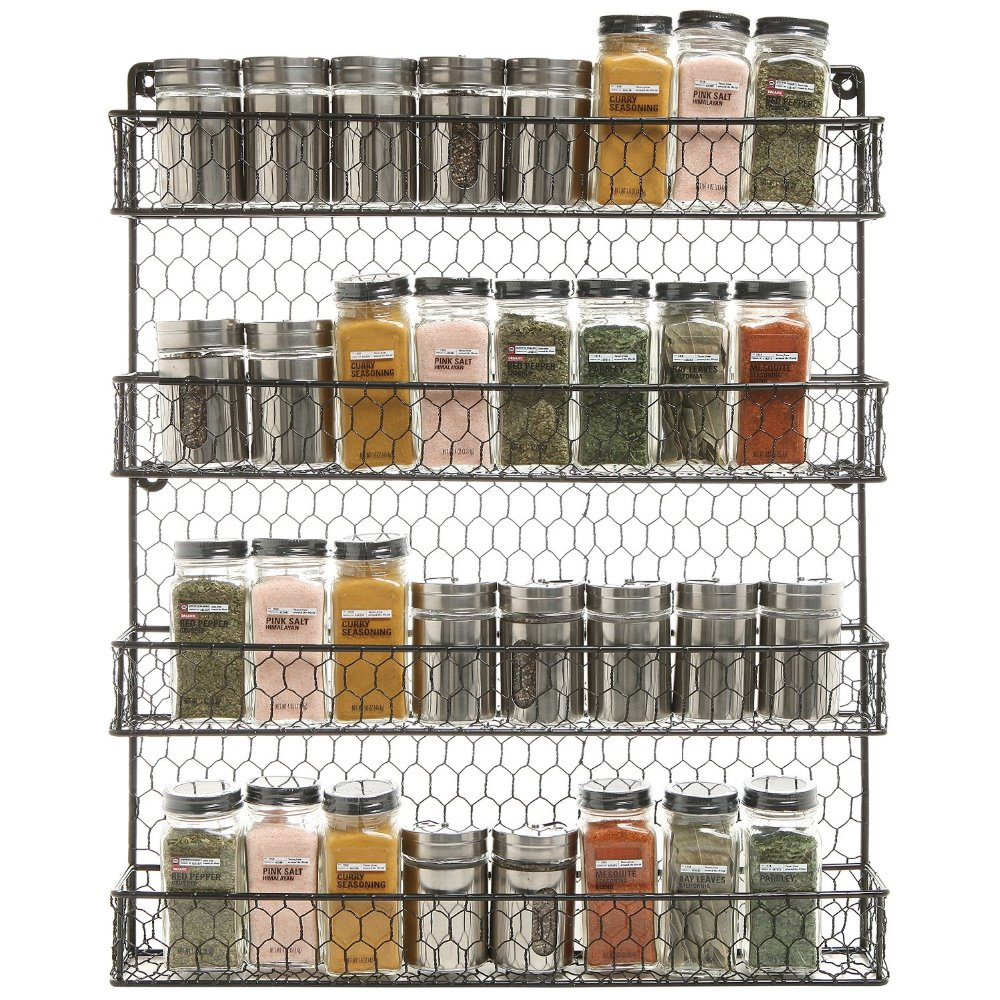 4 Tier Black Country Rustic Chicken Wire Pantry, Cabinet Or Wall Mounted  Spice Rack Storage Organizer In Storage Holders U0026 Racks From Home U0026 Garden  On ...