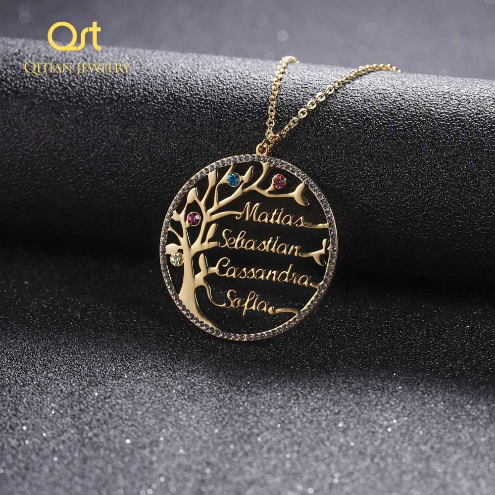 Заявление семья Дерево Кристалл Цепочки И Ожерелья для женщин обычай имя камень по дню рождения Колье Золото Нержавеющая сталь ювелирны