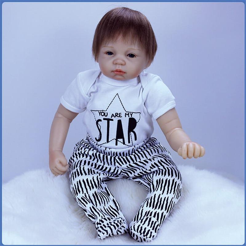 SanyDoll 20 inch 50 cm Silicone baby reborn dolls, beautiful dress lovely suit doll reborn boy girl holiday gift