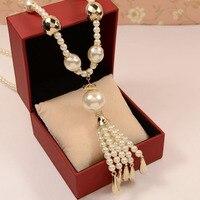 Hand made Korea luxusmarke lange perle anhänger quaste halskette frauen schmuck großhandel/colar/collier/acessorios para mulher