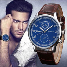 HOT!!! vogue cheap Mature Mens Watches Retro Design Leather Band Analog Alloy Quartz Wrist Watch Dec 16