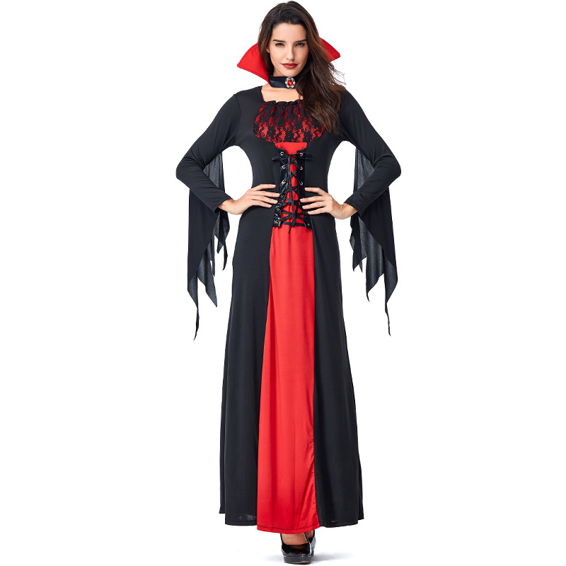 Black Night Wandering Ghost Bat Vampire Witch Dresses Costumes Suit Halloween Cosplay For Woman