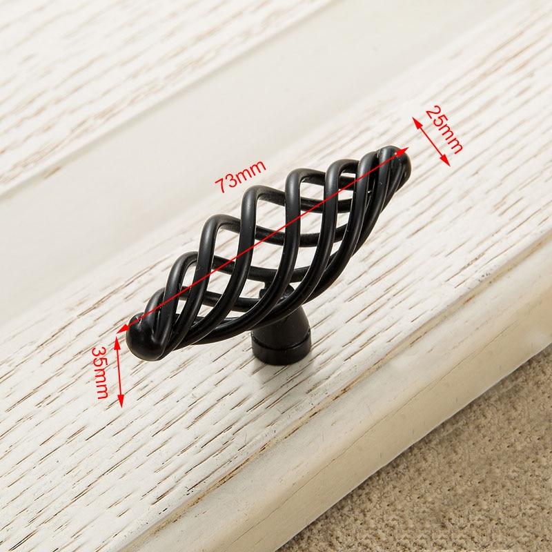 KAK винтажные антикварные бронзовые ручки для шкафа, полые ручки для птичьей клетки, ручки для выдвижных ящиков, Съемники дверей шкафа, Мебельная ручка - Цвет: 3101 Black