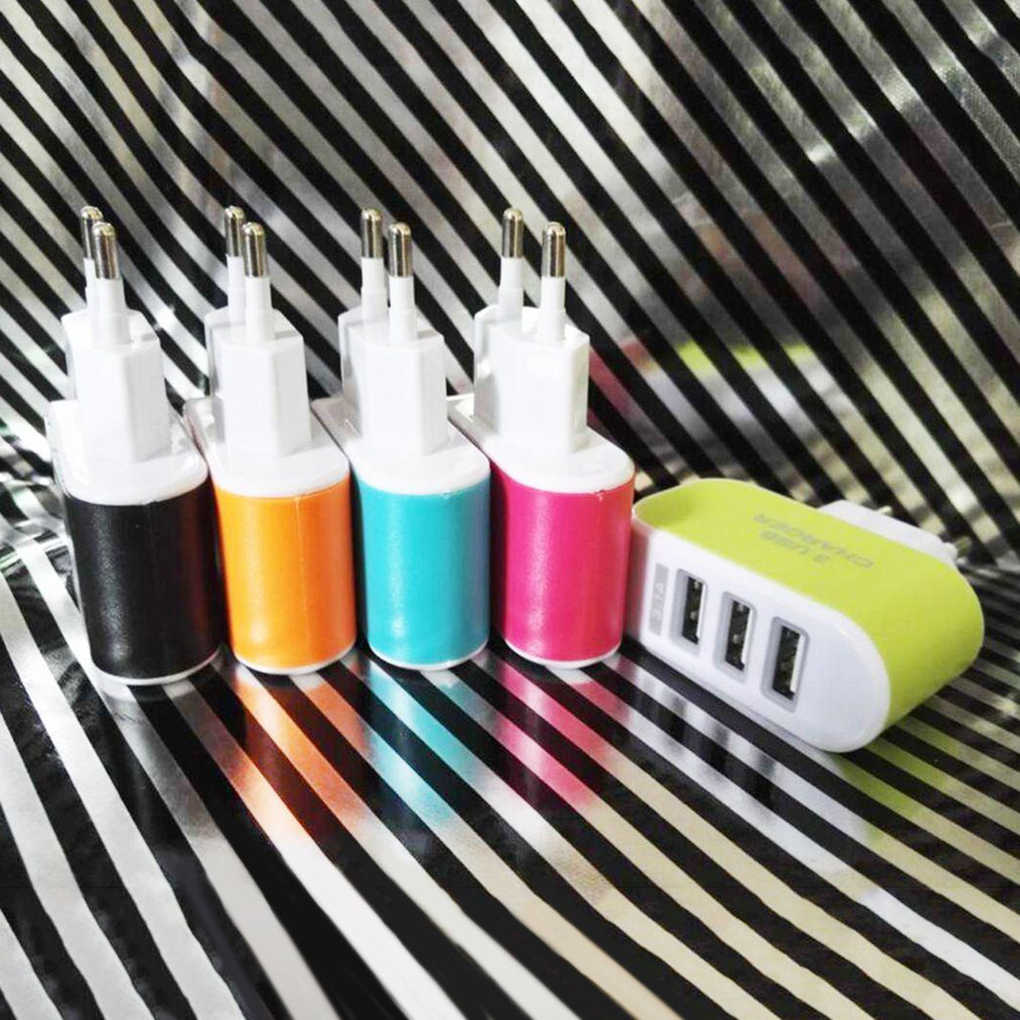 3 Port USB Charger Ponsel EU/US Plug Charger Travel Charger Dinding USB untuk iPhone untuk Xiao Mi untuk samsung Ponsel Charger