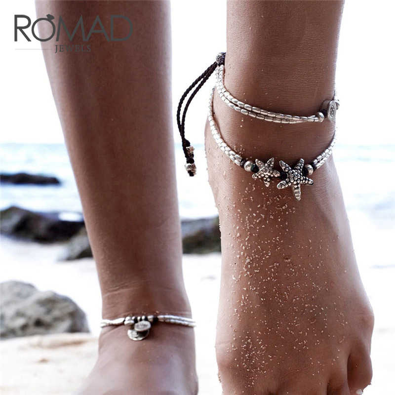 a6eb96f3dc7 2018 Fashion Retro Bohemia Round Starfish Anklet Summer Beach Feet Jewelry  Simple Pull Beads Bobo Anklet
