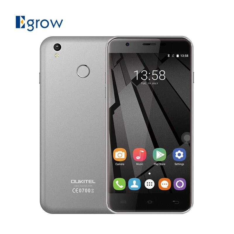 Цена за Oukitel U7 Plus 5.5 Дюймов Android 6.0 Мобильный Телефон MTK6737 Quad Core 2 Г RAM 16 Г ROM Смартфон 2500 мАч 13.0MP Dual SIM Мобильный телефон