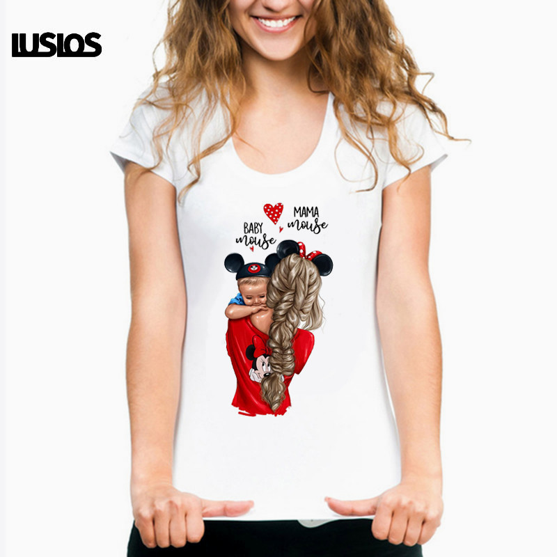 LUS LOS Mama Mouse Baby Mouse Cartoon Print Female T Shirt Summer Women Cute Mama'Love Tshirts Korean Style Vogue T-shirts