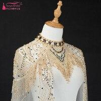 Sparkly бисера Свадебное Обёрточная бумага кисточкой Великолепные Длинные свадебные мыс Африканский Для женщин Специальное мероприятие шаль