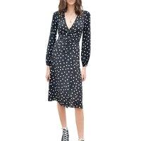 WISHBOP NEW Deisgner 2018SS 100% Silk Black White Dot Print Wrap Midi dress Long Sleeves Elegant Woman Long DRESS