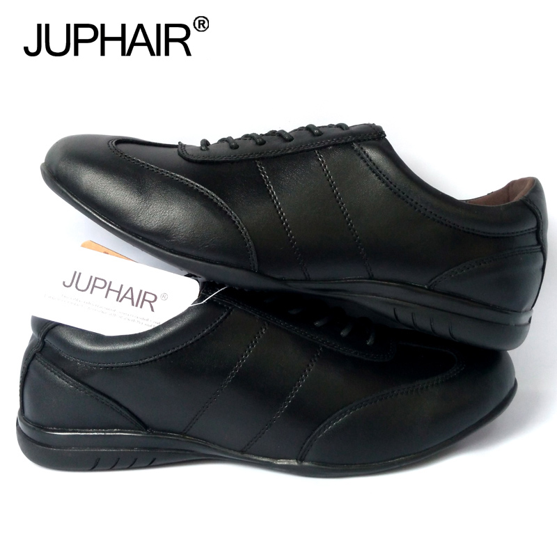 цена JUP Men Dress Leather Shoes Brand Genuine Leather Formal Fashion Genuine Loafers Flats Shoes High Quality Black White Men Casual онлайн в 2017 году