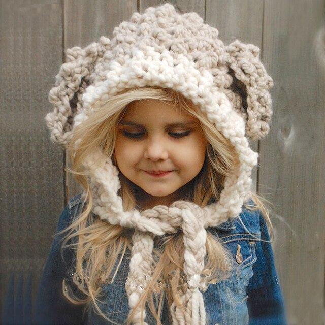 Fashion Children 3D Cartoon Sheep Handmade Hat Cute Ear with Long braids  Knitted Caps Winter Boy Girl Hats Warm Cap Kid Gifts ef5055da61c